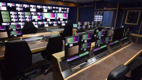 Equipment inside the Production Gallery area on board Arena TV's OBX is controlled with a Lawo VSM system.