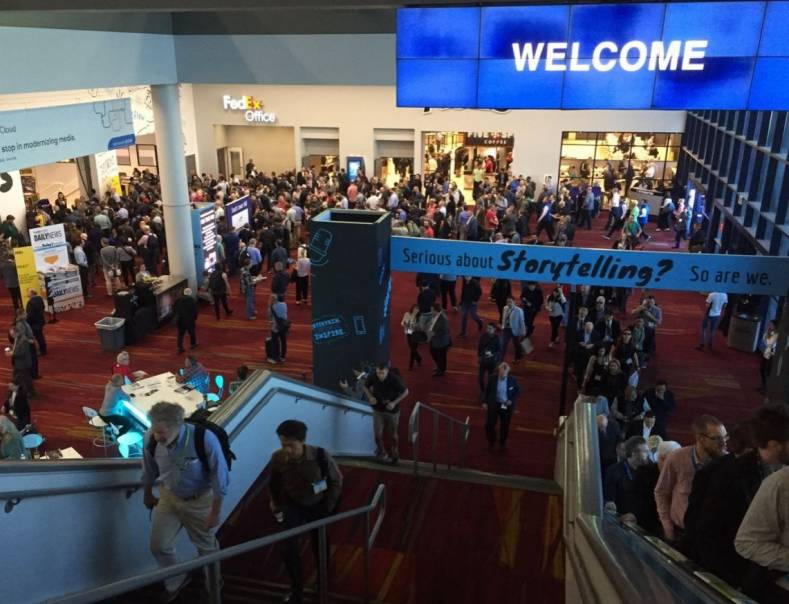 South Hall lobby before exhibits opened. More than 91,000 people registered to visit the 2019 NAB Show. Over 25% were international.