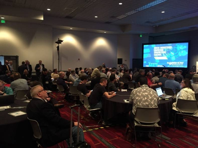 The only constant at annual NAB technical sessions is the rooms where many are held and the engineers who attend them. Photo from last year.