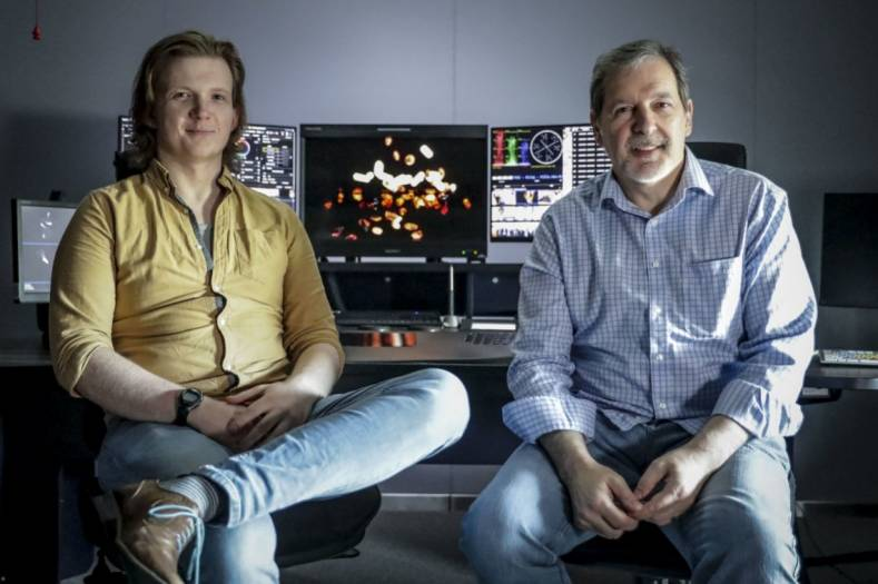 Colorists Mike Trevett and Tom Nichol in BBC Street's Baselight grading suite at BBC Scotland.
