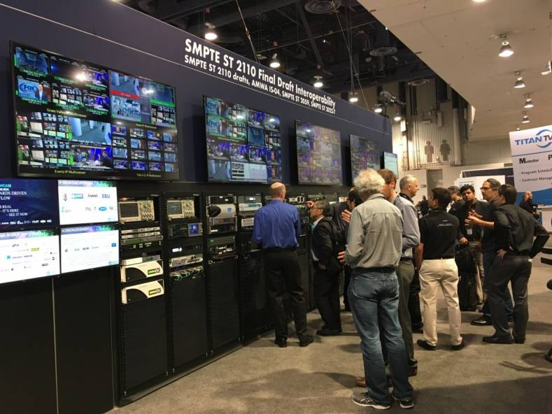 Evertz and Panasonic demonstrated uncompressed IP video transport at the IP Pavilion during the 2017 NAB Show.