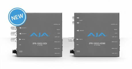 The new IPR-10G2-HDMI and IPR-10G2-SDI converters are capable of bridging 10-bit HD IP video signals to HDMI and SDI.