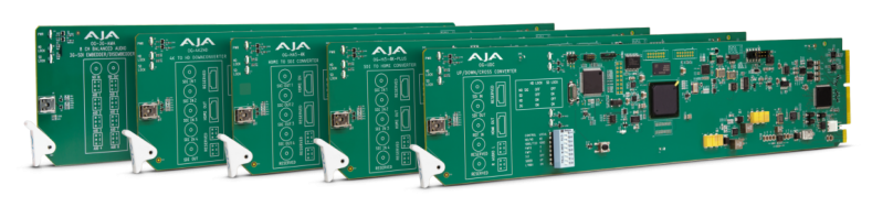 AJA Video Systems' five new openGear-compatible video and audio rack cards.