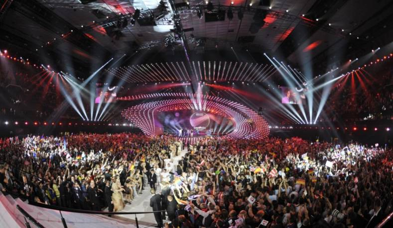 Stage set and audience at the 2015 Eurovision Song Contest in Vienna