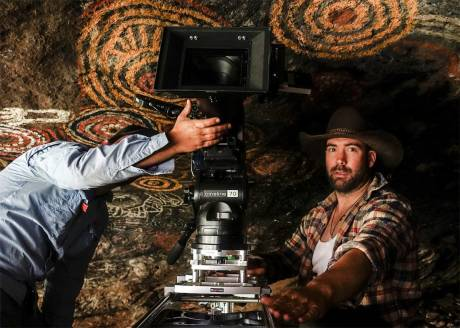 Dale Bremner with his ARRI Amira and master primes in Australia's Red Centre.