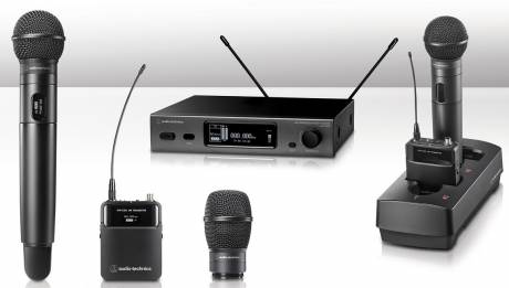Audio-Technica 3000 frequency-agile true diversity wireless microphone system.