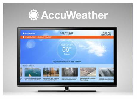 The Apple TV app uses patented MinuteCast minute-by-minute forecast as well as start and end times hyper-localized by the Apple TV location.