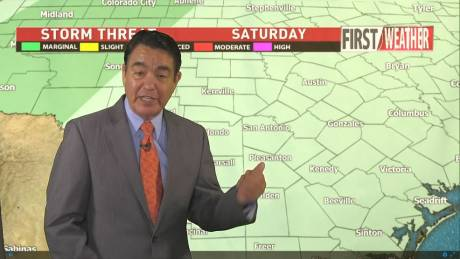 KABB Chief Meteorologist Alex Garcia on air from his living room green-screen wall.
