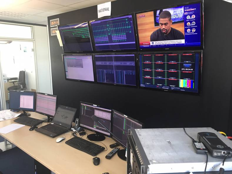 The control room at VIDI Control Center in Germany, monitoring all live football (soccer) transmissions.