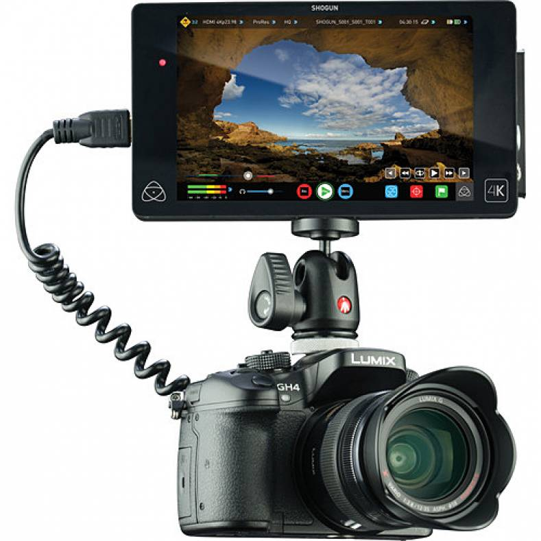 Atomos shogun recorder mounted on a Panasonic GH4 DLSR camera