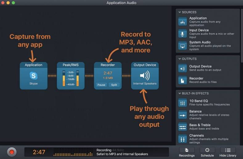 Rogue Amoeba's Audio Hijack has audio building blocks to create a Mac-based recording studio.