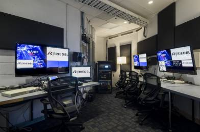 Banff Centre control room relies on a Riedel 50 Gbit/s MediorNet Compact Pro, which can support dozens of MADI streams between studios.