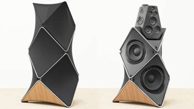 The Bang & Olufsen BeoLab 90 speaker celebrates the company's 90th anniversary. Retail price for these innovative speakers, about $90,000.