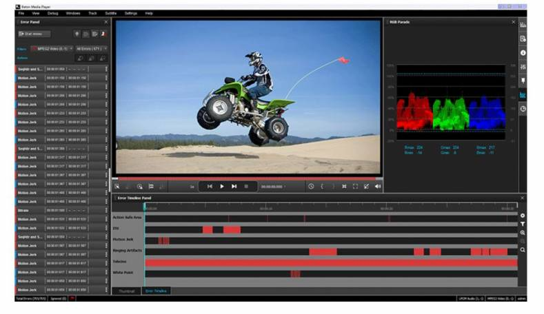 The Media Player works in sync with BATON providing fast, frame-accurate manual review of content.