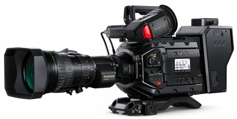 Blackmagic Ursa Broadcast camera with SMPTE hybrid fiber transmitter attached.