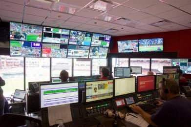 The video control center at Busch Stadium rivals many small TV stations.