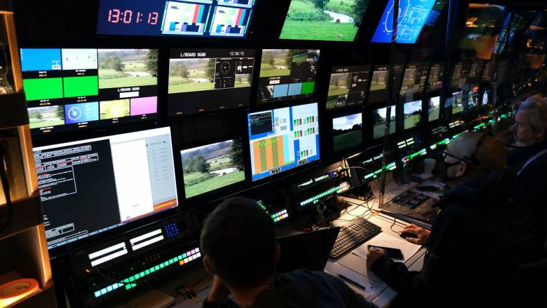 CTV Outside Broadcast's OB 12 mobile production truck in operation during coverage of the PGA European Tour