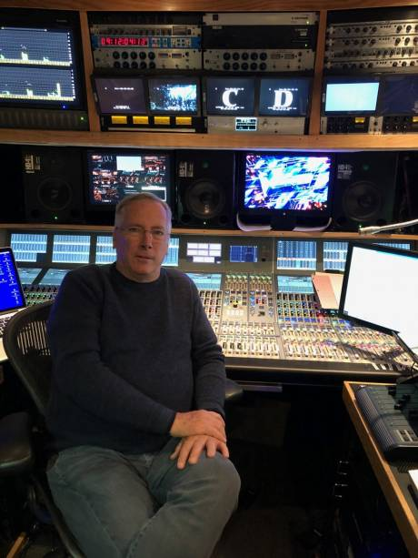 "Michael Abbott works on an NEP Denali truck to mix NBC's ""The Voice"" on a Calrec Apollo console."