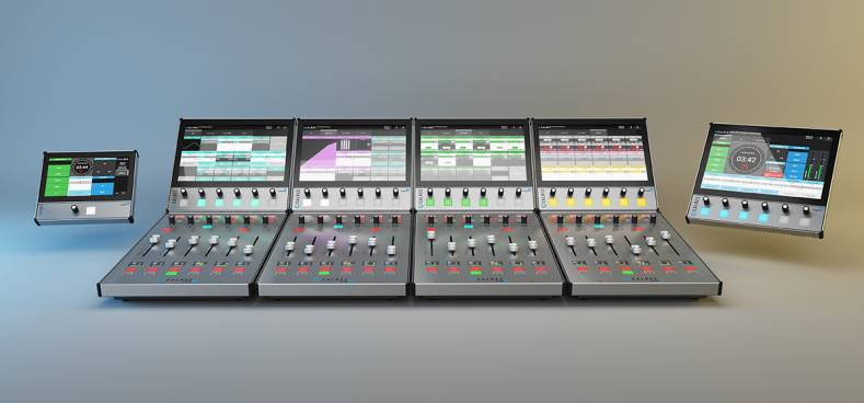 Calrec's Type R for TV virtual mixing console can be controlled from the control room's video production switcher and remote fader panel.
