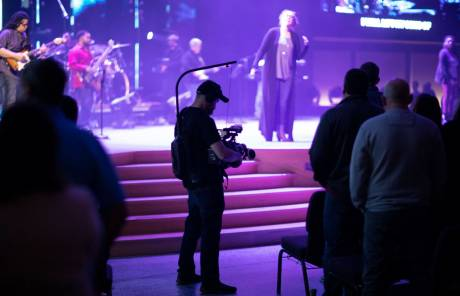 The Panasonic cameras are used for IMAG projection to two LED screens located at either side of the sanctuary stage.