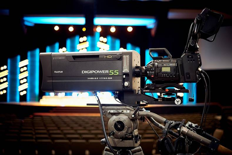 The Fujinon XA55 zoom on a Blackmagic Ursa Broadcast camera at the Christian Faith Center.