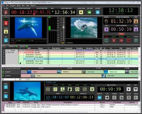 Cinegy Air PRO Control, active mode, multi-channel playout.