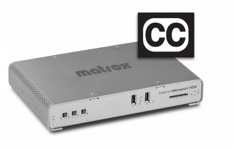 Matrox Monarch HDX streaming and  recording appliance now supports  closed captioning for online playback  and accessibility.