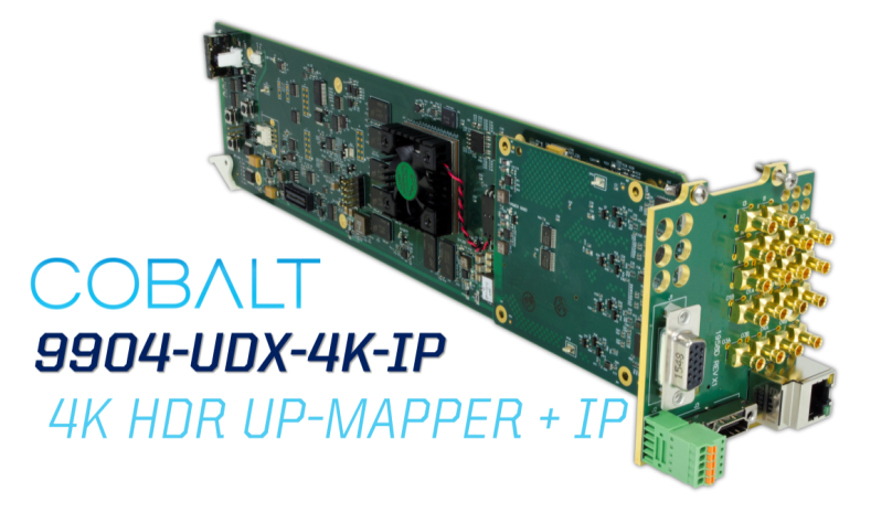 Cobalt 9904-UDX-4K-IP next generation scaler and frame sync for the openGear Platform.