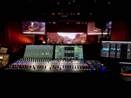 The mc²56 is being used for FOH in Cornerstone's sanctuary for mid-week and Sunday services.