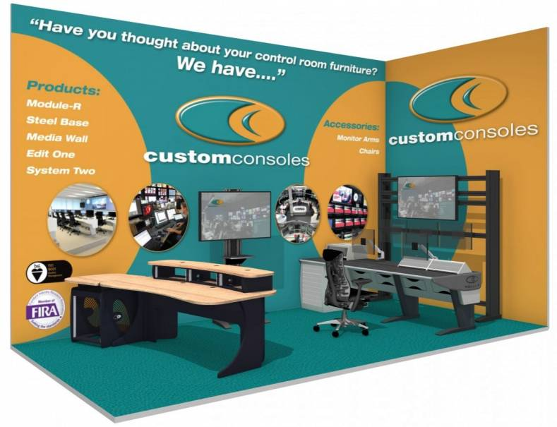Custom Consoles CABSAT 2017 CABSAT stand configuration. From left to right are examples of EditDesk, MediaPost, Module-R Lite and MediaWall.