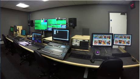 Coventry University TV studio gallery, based around a Custom Consoles Module-R series desk.