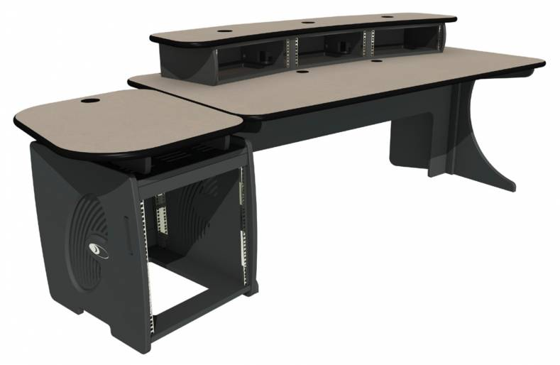 The enhanced EditOne graphics suite desk and equipment storage pedestal.