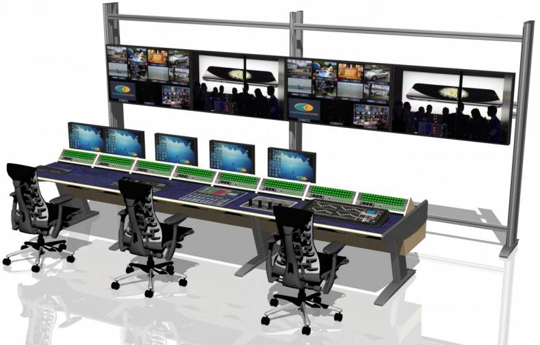 The Larger Desk Includes An Inset Ross Vision Switcher Panel A Soundcraft Audio Mixer And