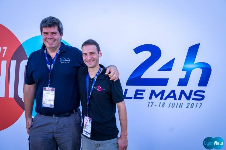 CyanView's Stephane Ducobu and founder/CEO David Bourgeois were proud of their company's performance at the Le Mans 24 hour motor race.
