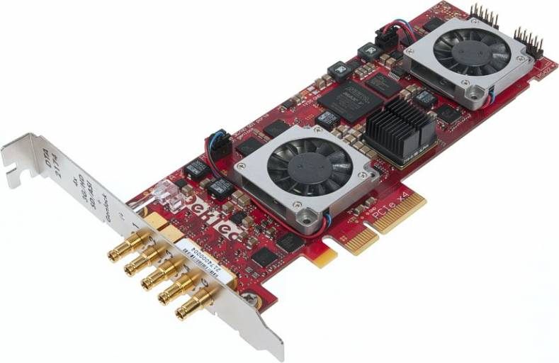 The DTA-2174 is a low-profile PCI express card with four 3G-SDI ports and analogue genlock.