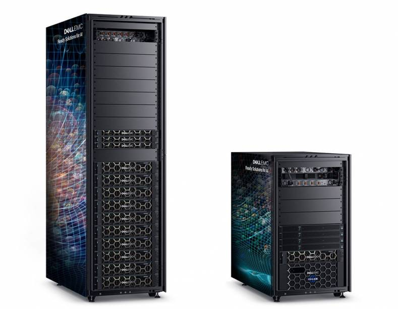 Dell EMC Ready Solutions for machine learning with Hadoop (L) and deep learning with NVIDIA (R).