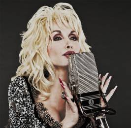 Dolly Parton sings into AEA replica of the 1930s-era RCA 44BX.