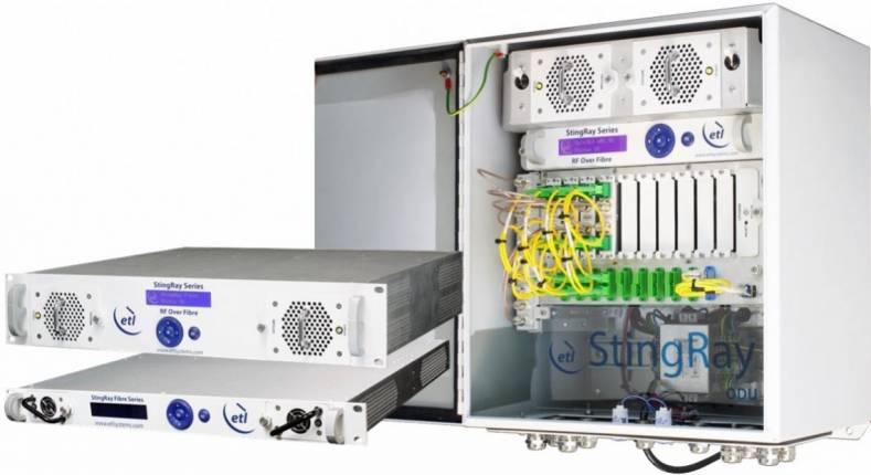 The ETL Systems StingRay RF over Fiber range provides fiber-optic link connectivity between a satellite antenna and a remote control room.