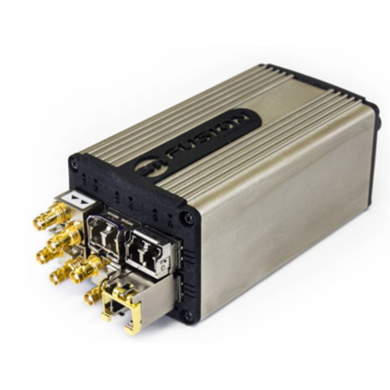 The emFUSION-6 SDI-to-IP gateway allows users to interconnect SDI signals to an IP infrastructure via a single 25GE aggregation link.