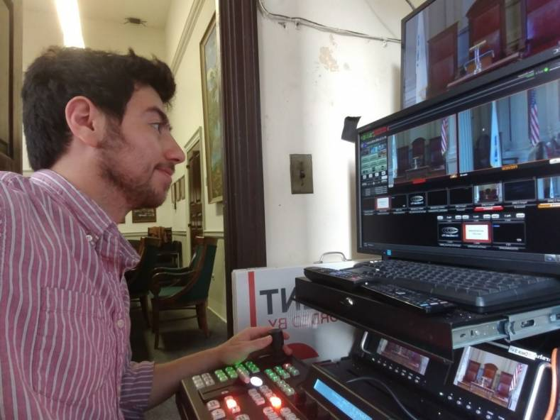 Eugene Foygelman, production coordinator, at Newton, MA City Hall's new Broadcast Pix CP500 switcher panel.