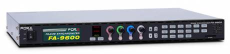 The FA-9600 signal processor features dual channel frame synchronization, color correction, up/down/cross conversion, and 12G-SDI support.