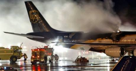 Aircraft fire caused by lithium-ion batteries.