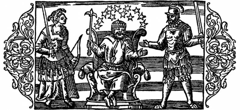 The god Thor (centre) with Frigg and Odin. By Olaus Magnus, public domain