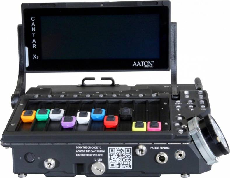 Aaton Digital's new CantarMini 16 track digital mixer-sound recorder with swiveling display.
