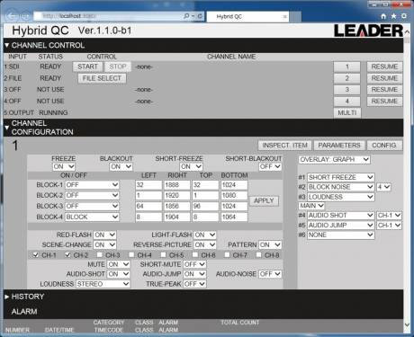 The Leader FS 3102 broadcast quality control analyzer GUI provides control and feedback.