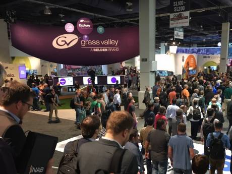 The Grass Valley exhibit dominates the entrance to the South Hall of NAB, reflecting the company's growing position in the industry.