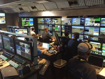 On board Game Creek's Encore production control room, complete with Grass valley production switcher and EVS Replay systems.