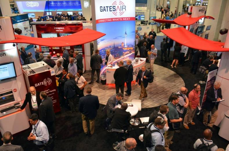 The GatesAir exhibit was busy and not the only place GatesAir products could be seen at the show. Photos courtesy Keith Adams at GatesAir.