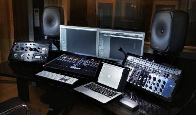 Studio with Genelec Pro Monitors.