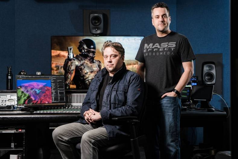 Pictured L-R: BioWare Creative Audio Director Mike Kent and BioWare Director of Audio Jeremie Voillo.